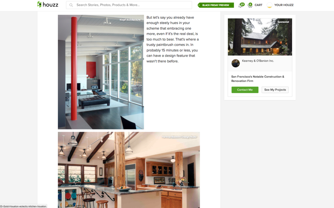 Houzz featured our Mid Century Modern Remodel