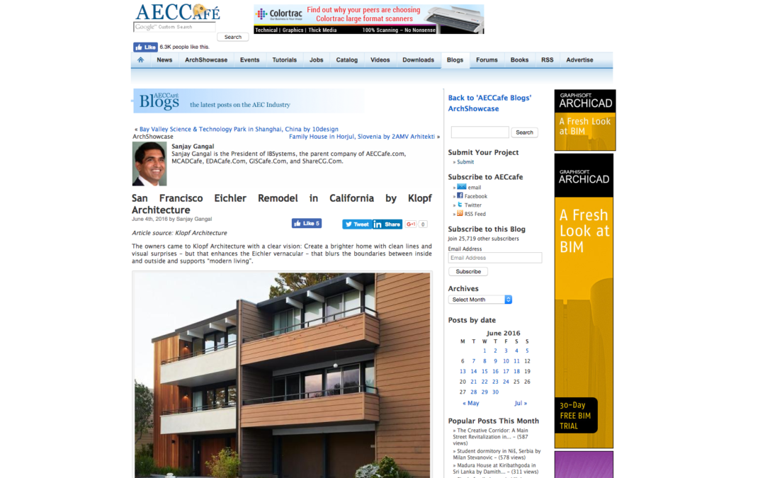 AECCafe featured our San Francisco Eichler Remodel
