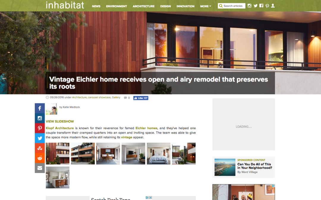 Inhabitat featured our San Francisco Eichler Remodel