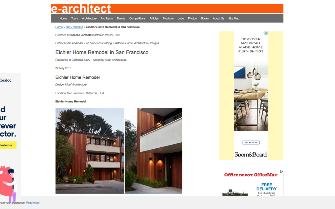 e-architect featured our San Francisco Eichler Remodel