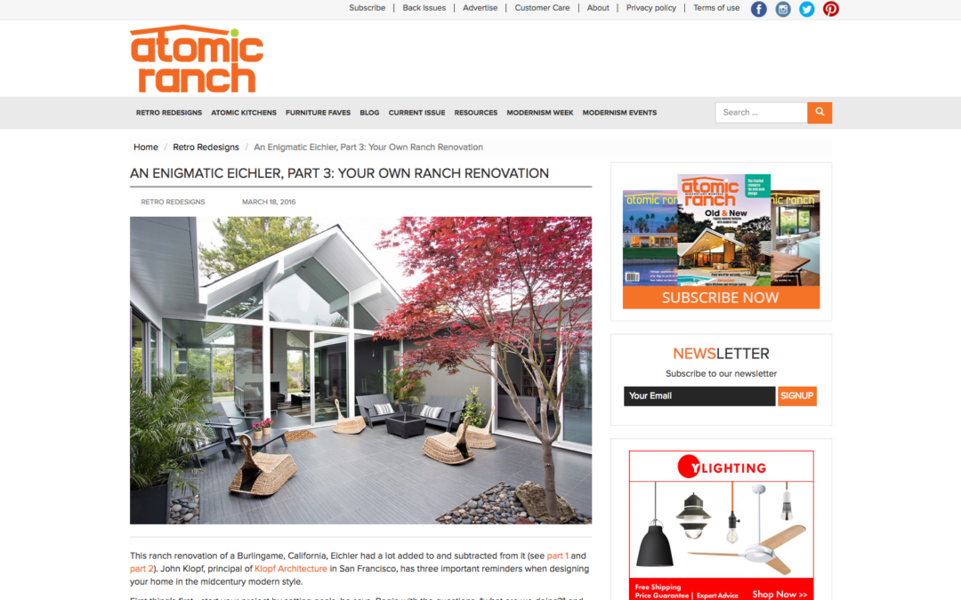 Atomic Ranch featured our Double Gable Eichler Remodel