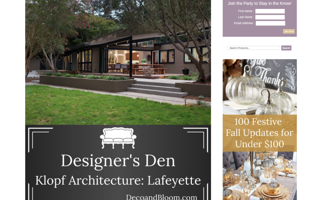 Deco and Bloom featured our Lafayette Mid Century Modern Remodel