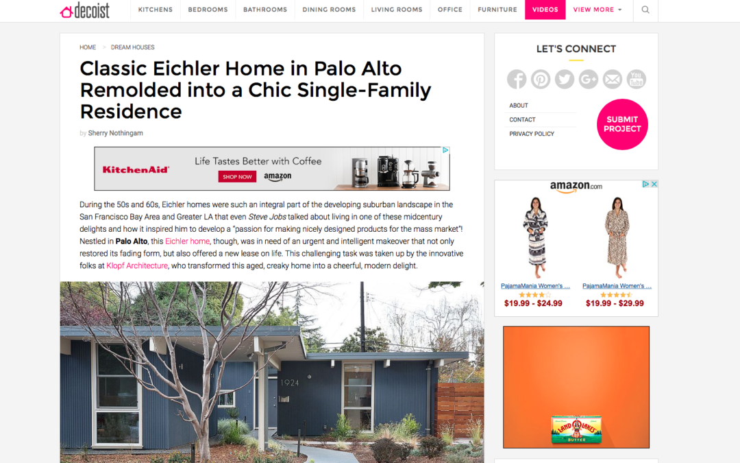 Decoist featured our Palo Alto Eichler Remodel