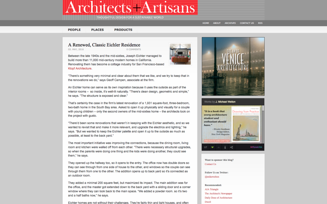Architects and Artisans featured our Renewed Classic Eichler