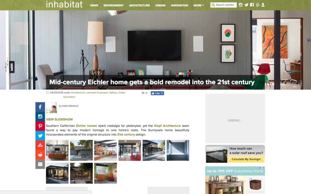 Inhabitat featured our Renewed Classic Eichler