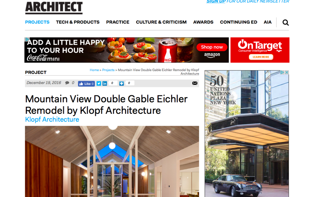 Architect Magazine featured our Mountain View Double Gable Eichler