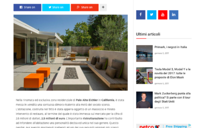 Lux Gallery Italy features our Truly Open Eichler House