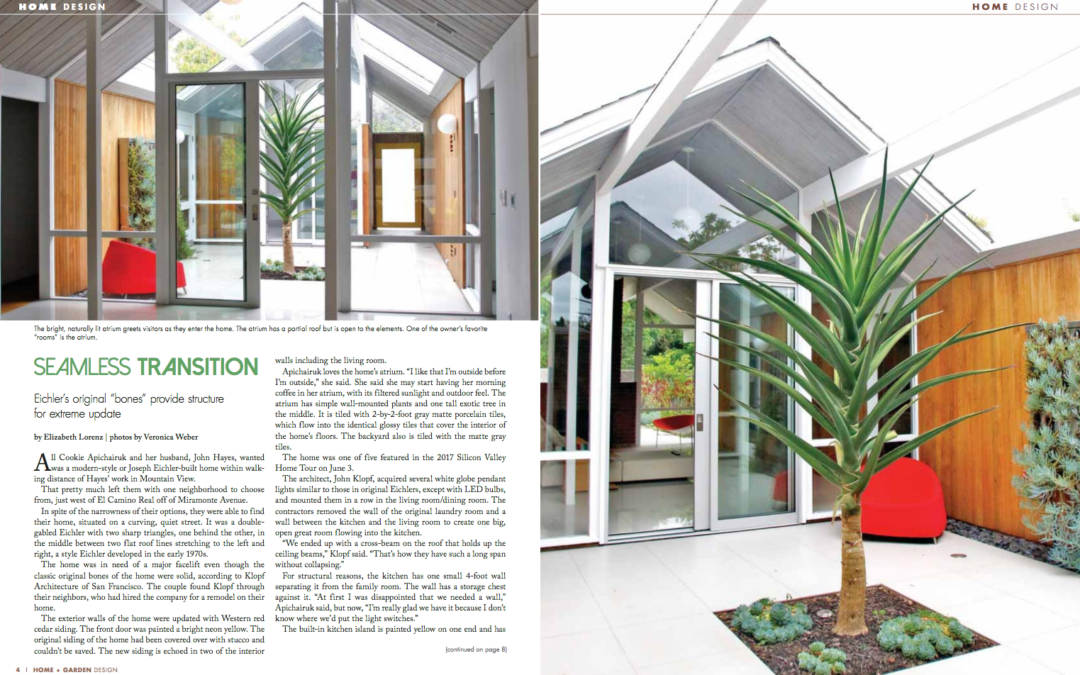 Home + Garden Design Magazine features our Mountain View Double Gable Eichler Remodel