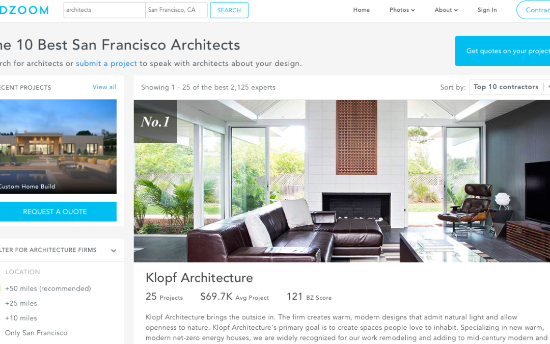 "Klopf Architecture listed as ""The 10 Best San Francisco Architects"" by BuildZoom"