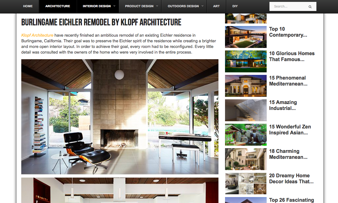 Architecture Art Design features our Burlingame Eichler Remodel