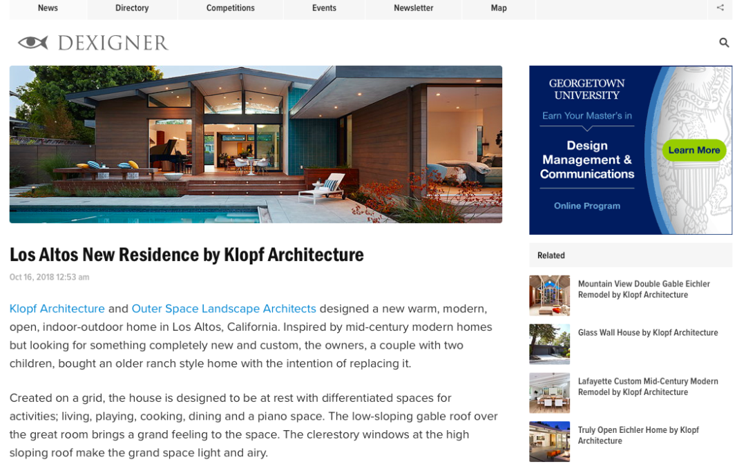 Dexigner features our Los Altos New Residence