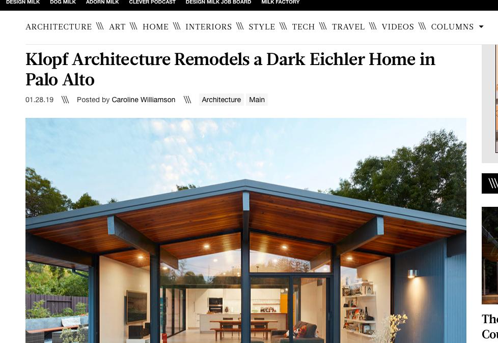 Design Milk features our Palo Alto Eichler Remodel