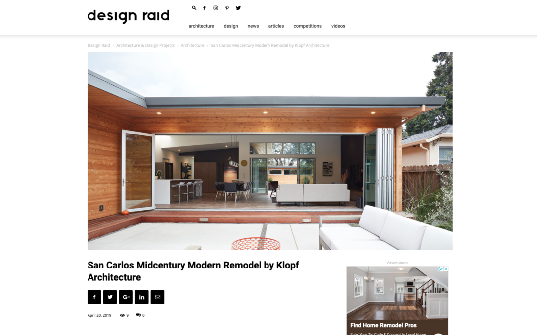 Design Raid features our San Carlos Midcentury Modern Remodel