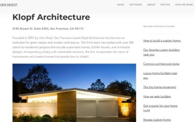 Klopf Architecture included in The Best Residential Architects in Palo Alto, California by Home Builder Digest