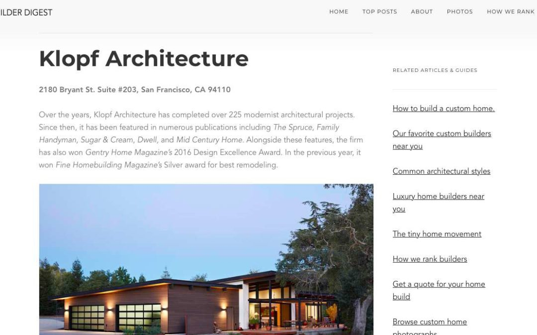 Klopf Architecture included in The Best Residential Architects in Sacramento, California by Home Builder Digest