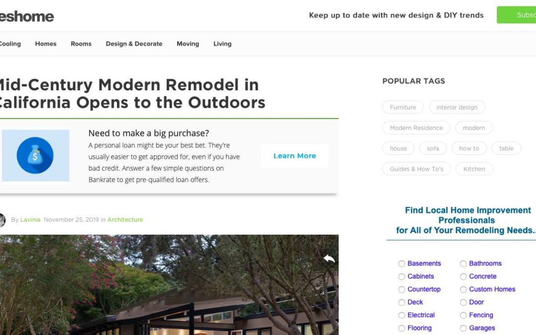Freshome features our Lafayette Midcentury Modern Remodel