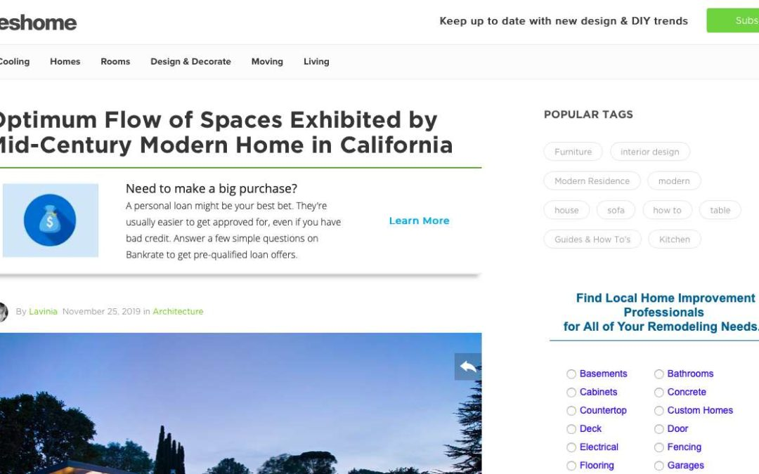 Freshome features our Midcentury Modern Remodel View Home