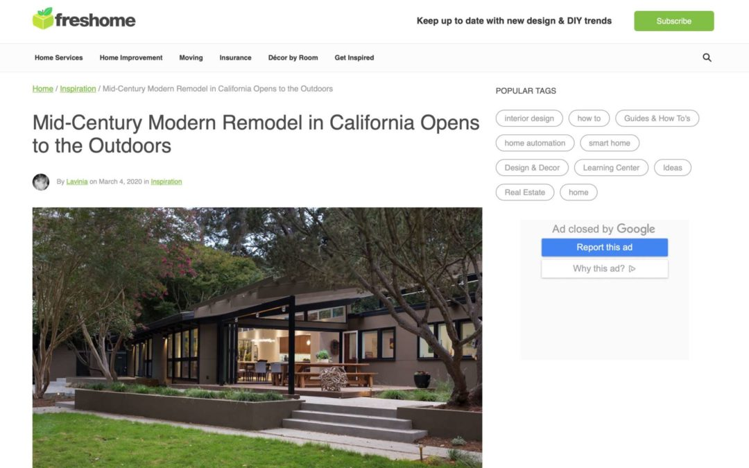 Freshome features our Lafayette MCM Remodel