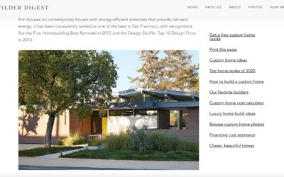 "Klopf Architeture is included – ""The 14 Best Residential Architects in San Bruno, California,""-  Home Builder Digest"
